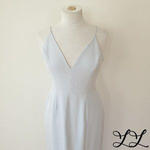WAYF Dress Light Blue Long Skirt Slit Wedding